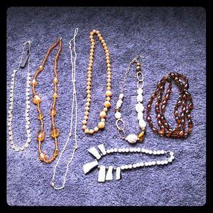 7p necklace lot bundle beads stones vintage & new
